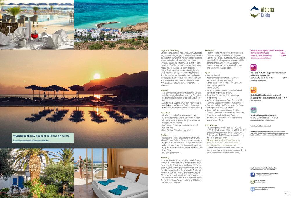 Aldiana Katalog Sommer 2017 Club Kreta Information