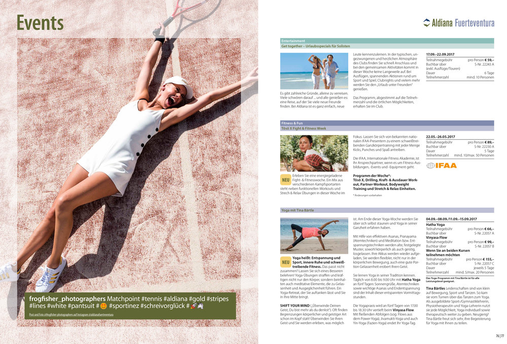 Aldiana Katalog Sommer 2017 Club Fuerteventura Events Tennis