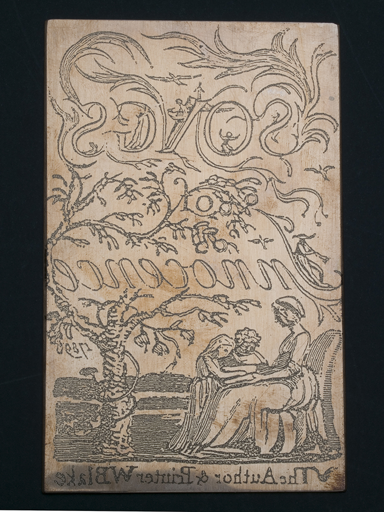 Fig. 2: Image of title page Songs of Innocence transferred to the copper plate using a screen-print method, to simulate how the plate would have looked following Blake writing his text in mirror writing and drawing his design in reverse in stop-out varnish onto the plate prior to etching.