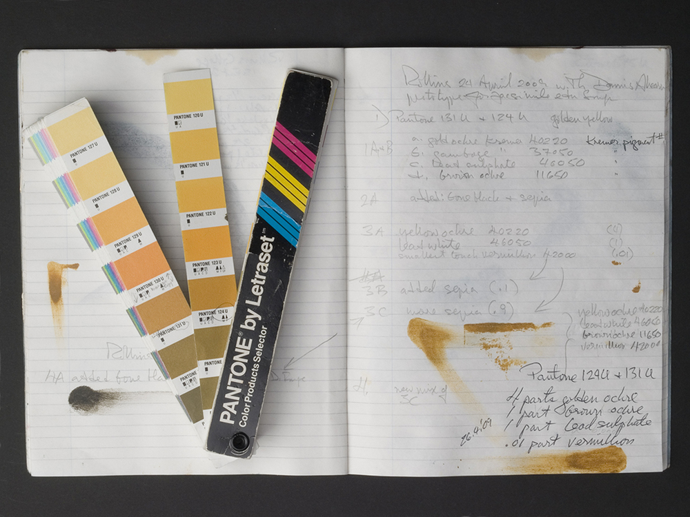 Fig. 1: Page-opening of notebook alongside the Pantone colour chart used to record experiments in mixing golden yellow ochre ink to match the ink Blake used to print Copy E of Songs of Innocence in the Berg Collection of the New York Public Library.