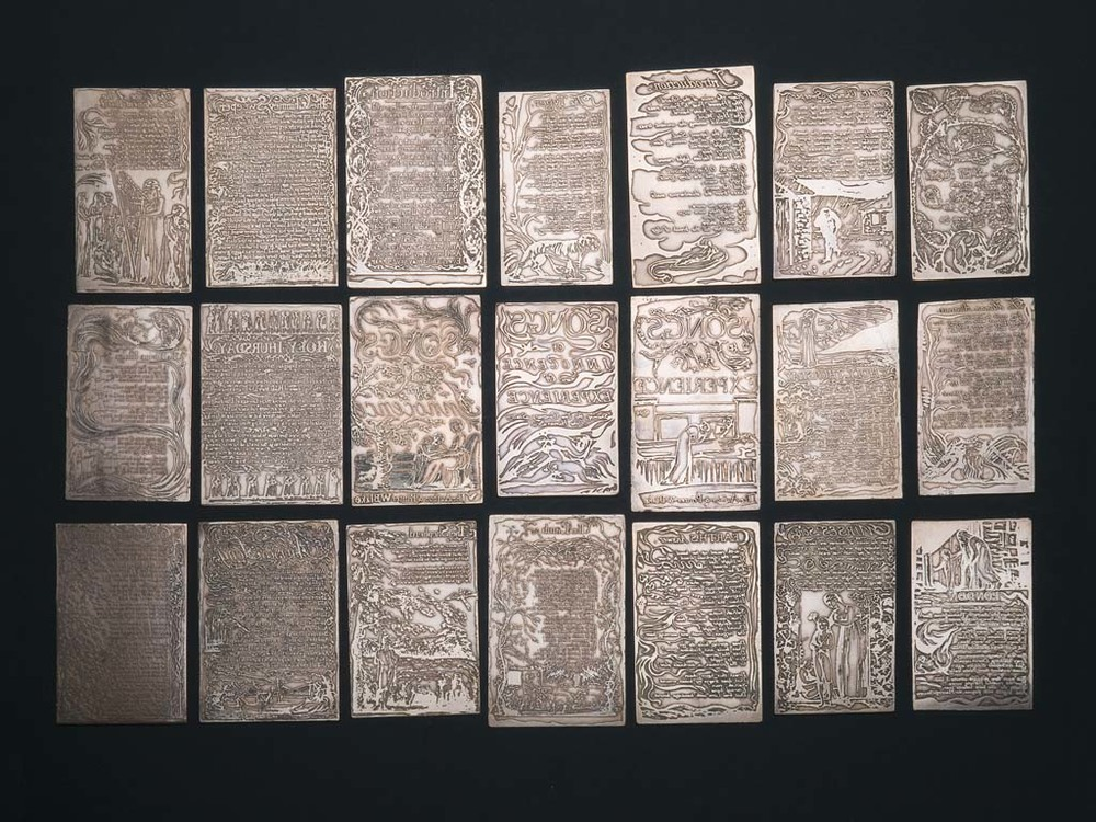 Selection of 21 relief-etched copper plates of the Songs of Innocence and of Experience.