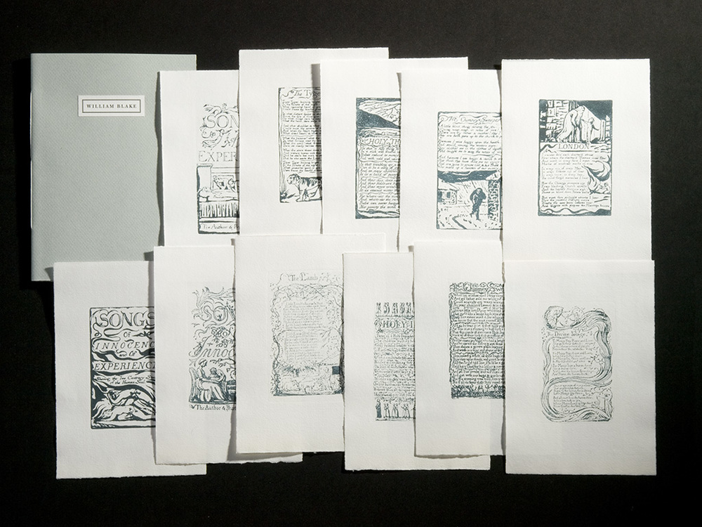 A representative selection of 11 prints from Songs of Innocence and of Experience including Portfolio (not shown) and Pamphlet