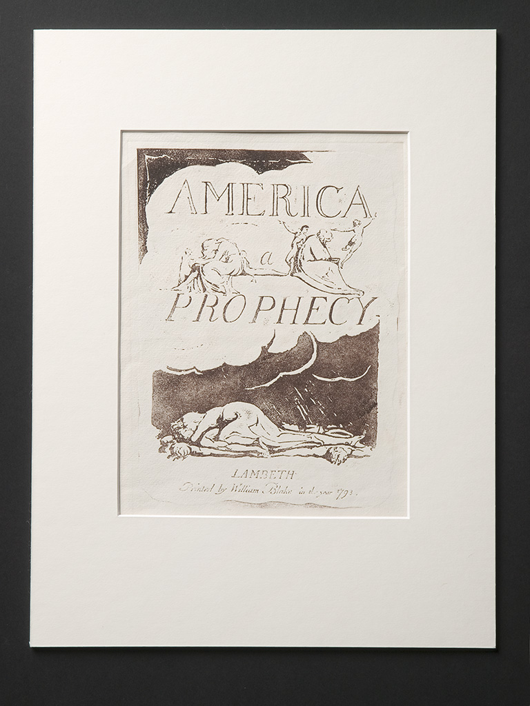 Plate ii, Title page, America a Prophecy Printed with mix of madder lake, gamboge, bone black, on WSH & Co. hand-made wove paper c. 1927