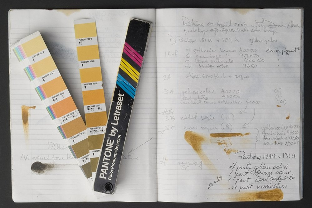 THE PANTONE COLOUR CHART USED TO RECORD EXPERIMENTS IN MIXING GOLDEN YELLOW OCHRE INK TO MATCH THE INK BLAKE USED TO PRINT COPY E OF SONGS OF INNOCENCE IN THE BERG COLLECTION OF THE NEW YORK PUBLIC LIBRARY.jpeg
