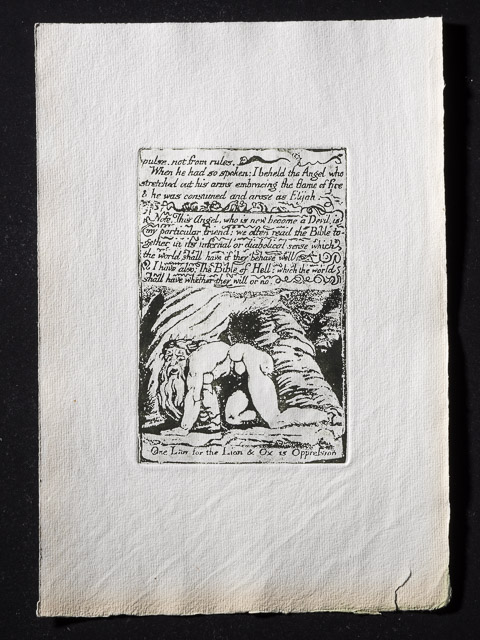 Proof impression of Plate 24 ' One Law for the Lion & Ox is Oppression '