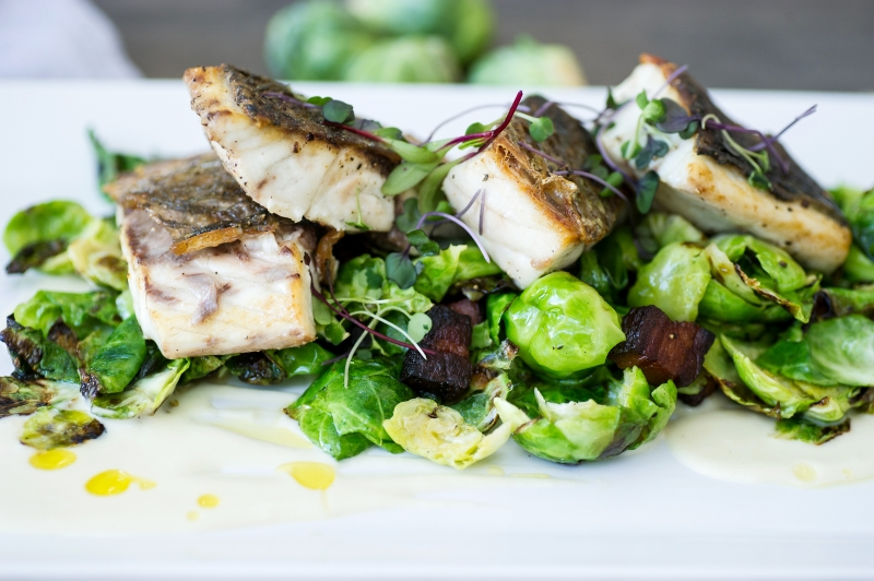 Seared Red Fish with Brussel Sprouts and House Bacon
