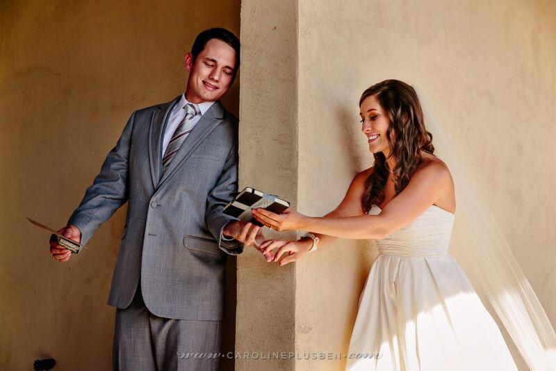 Bride and Groom Gift Exchange in Bridal Garden
