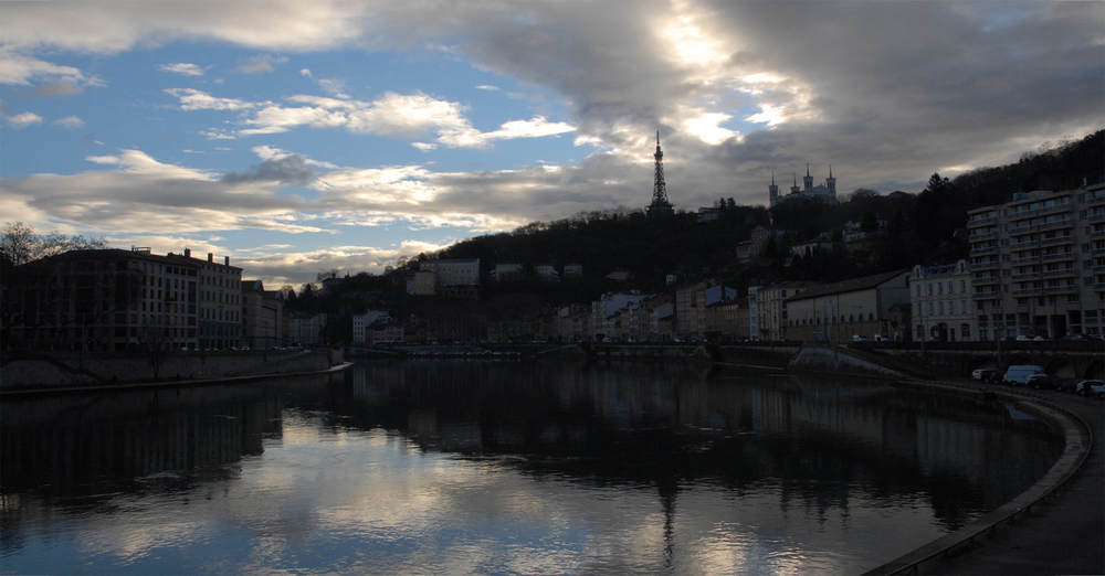 Lyon Capital of Silk: Dawn on the river Saône and Fourvière Hill