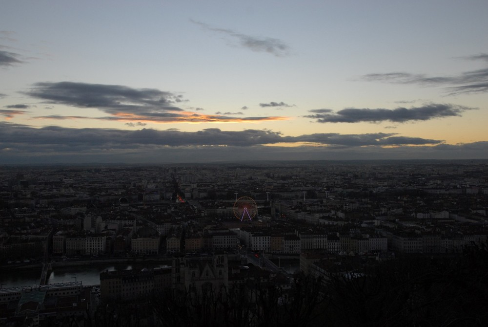 Lyon from the hill of Fourvière at dawn
