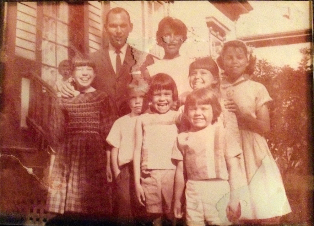 My Nana and family. My mom is the one in the front. The clothing is all made by hand.