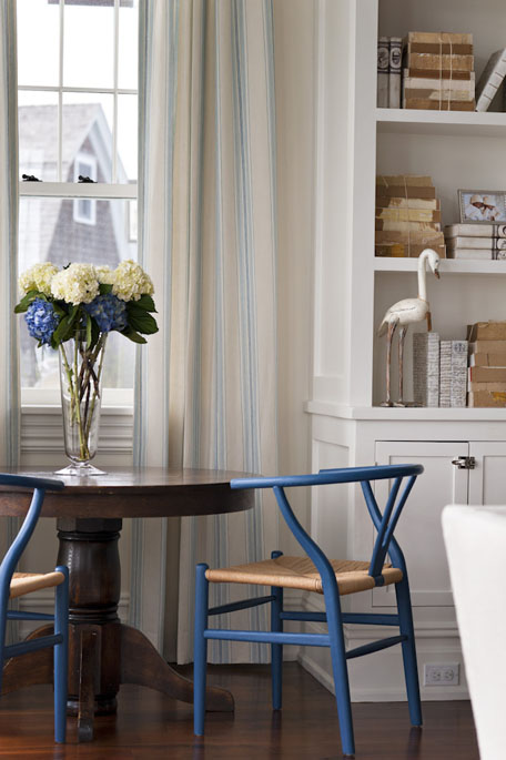 In a more traditional setting in blue from Interior designer  Elizabeth Bolgnino