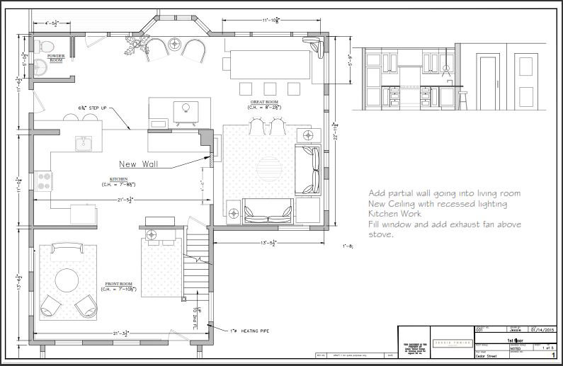 A peak at a revised floor plan for the stage 1 of the renovation including updating the kitchen.