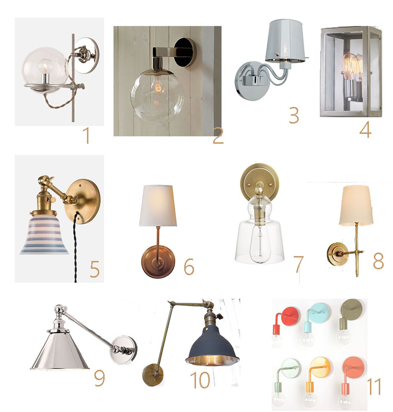 1.  School House Electric Orbit  (this would be great install in a mirror)  2.  West Elm Global  3. Joss and Main Milano  (and its only $54.00!) 4. Shades of Light Modern Industrial Sconce  5.  School House Electric Princeton Sophomore   6.  Visual Comforts Thomas O'brien  7.  Crate and Barrel Lander  8. Circa Lighting Bryant  9.  Restoration Hardware 20th Century Library  10.  Etsy Long Made Company Industrial Swing Arm  11.  One Forty Three Colored Wall Sconces  (only $69.00)