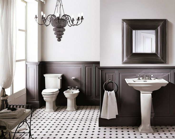 Inspiration with black and white tile. The home has very similar paneling to this photo. We won't be going as dark on the paneling.