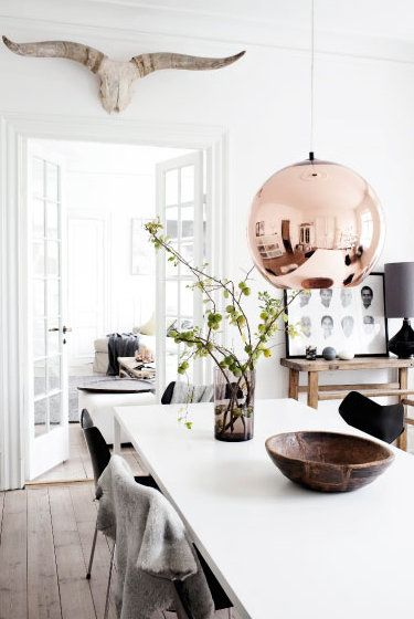 Statement lighting is often seen in Scandinavian homes.