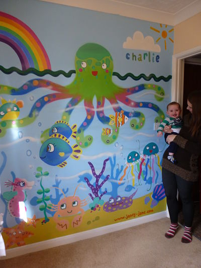Under the sea nursery mural