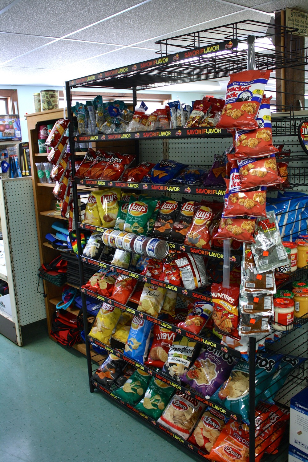 chips and other snacks available for purchase