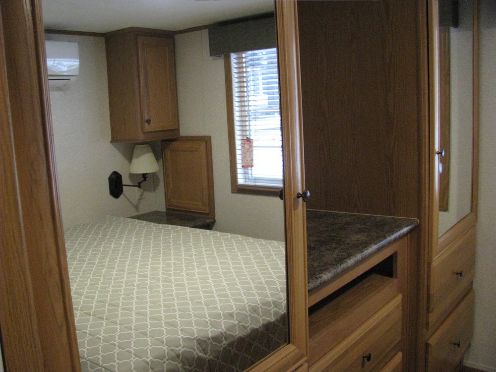 master bedroom in skyline trailer