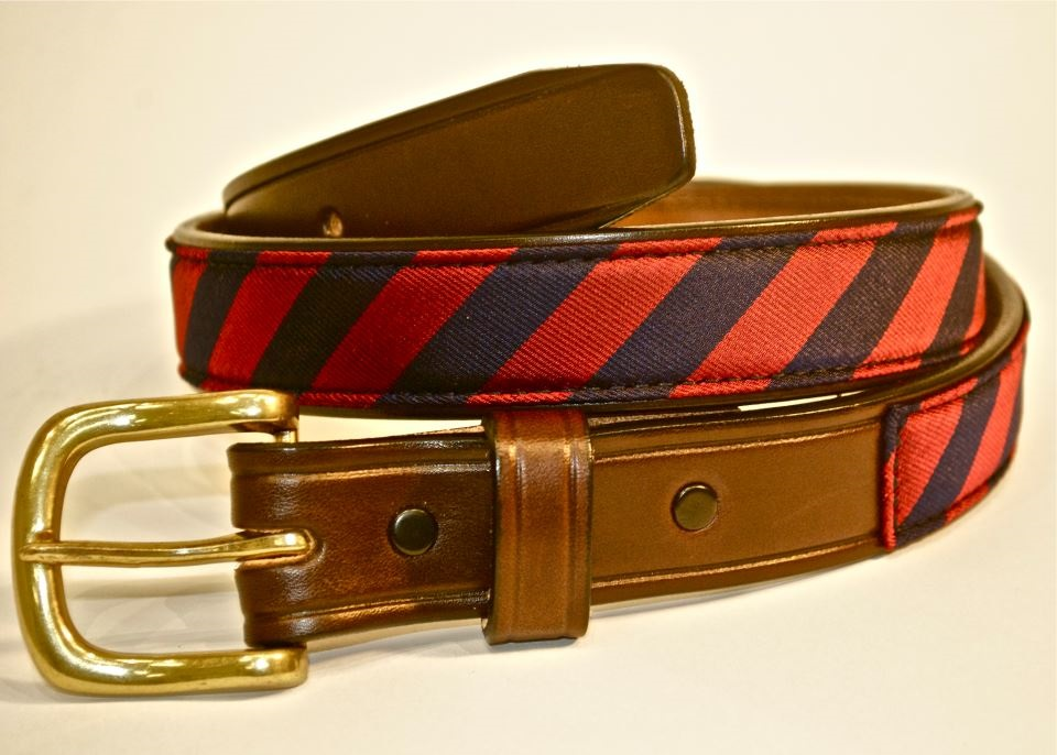 Men's Burgundy & Blue Repp Stripe Belt