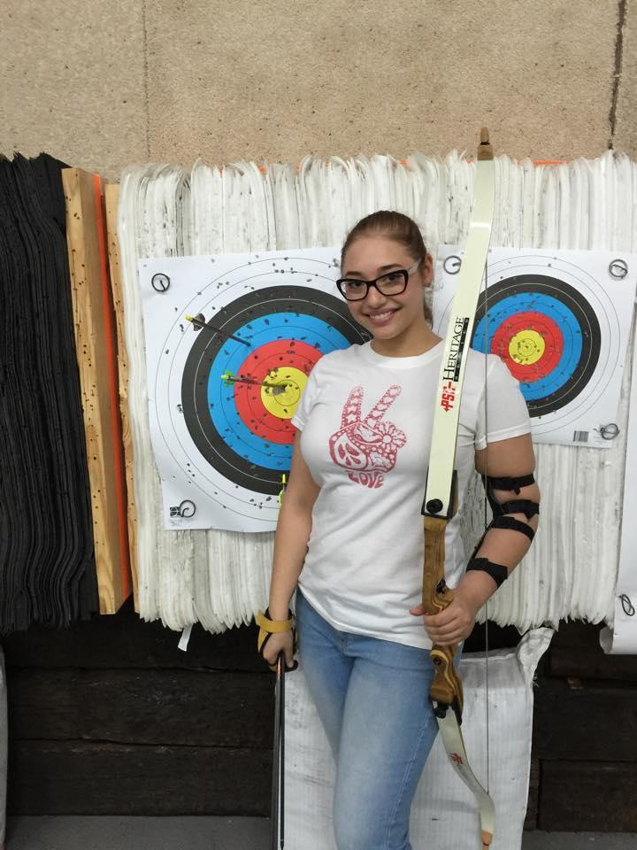 Doren with her first bullseye