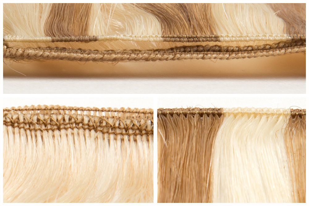 Differences between machine-tied ( left ) and hand-tied wefts ( right )