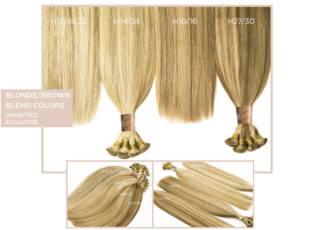 Blonde/Brown Blend Colors   (Traditional Weft Only)  D10/18, D27/30, D6/BL22, D10/16, D6/27