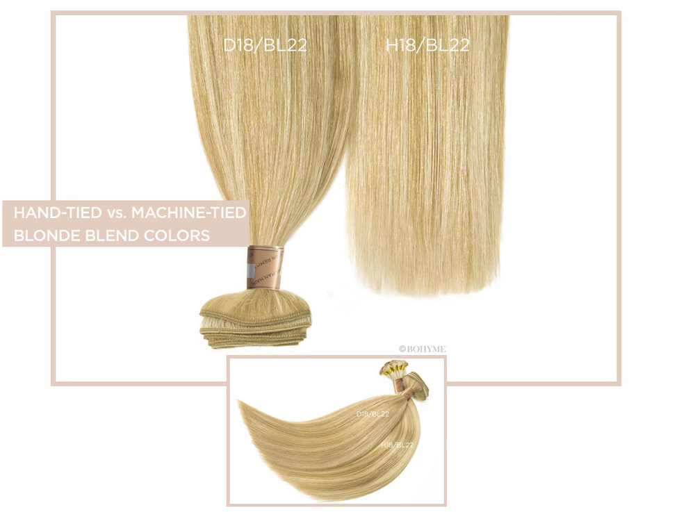 Hand-Tied vs Traditional Weft Blonde Blend Colors  D18/BL22, H18/BL22