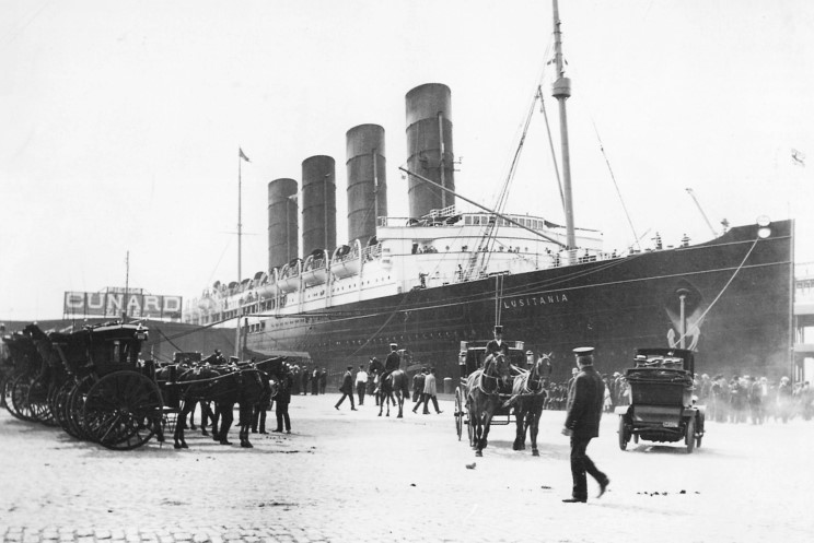 Lusitania arriving in New York on her maiden voyage