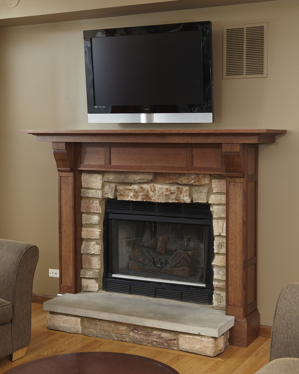 Built ins daedal woodworking for Craftsman style fireplace mantel plans