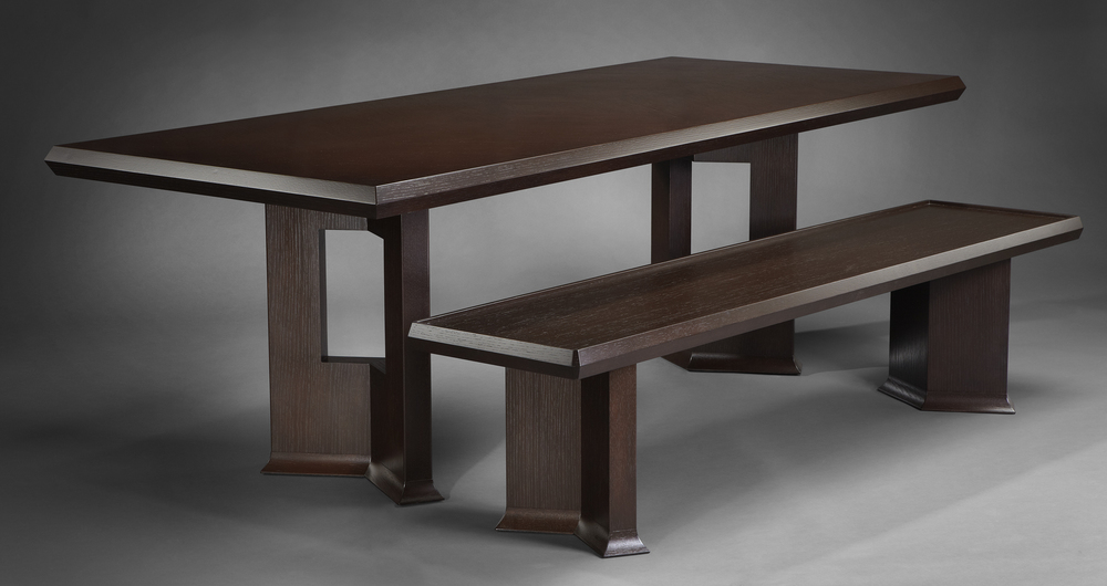 Chevron Dining Table and Bench