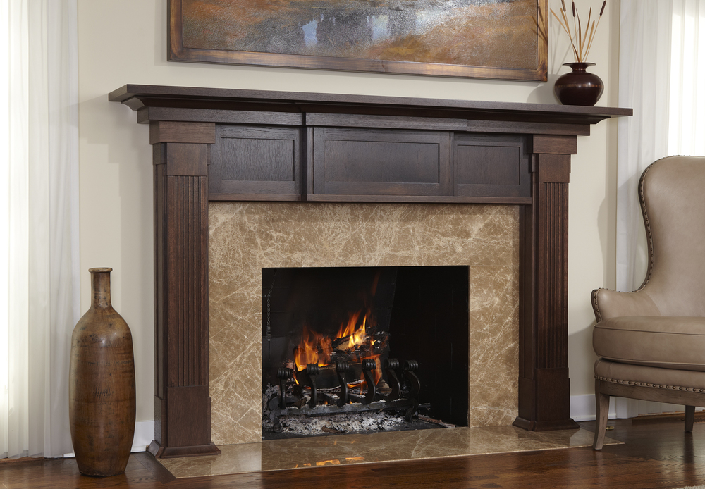 Marble and Oak Fireplace Surround