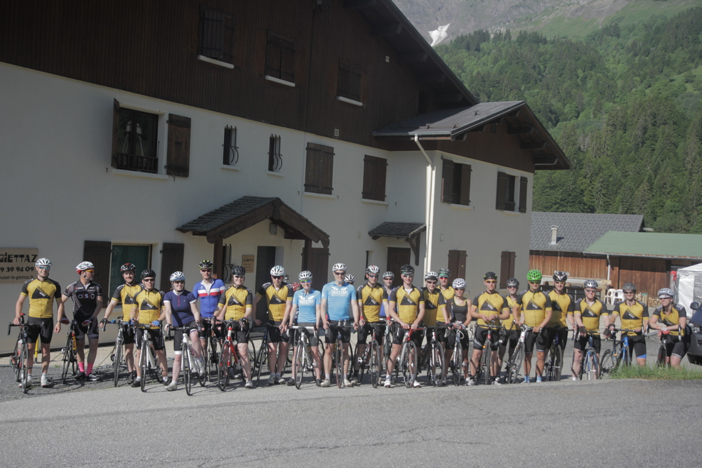Team Tour du Mont Blanc ready to depart - what a peloton!