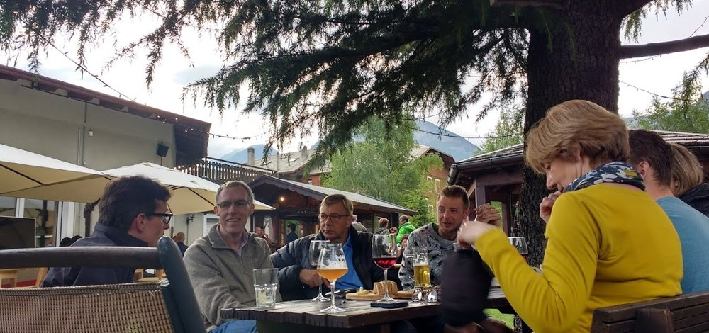 The hotel's beer garden is a perfect place to recount the stories of the day