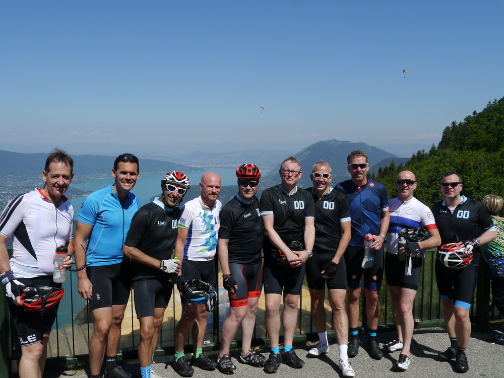 The Wimbledon Boys other looking the stunning Lake Annecy after the sharp climb up the Forclaz