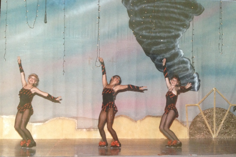 "* In Ozark, Alabama, circa 1986. Shelley McLaughlin Hoerner (left), Mellisa Henderson McLaney (right), and performed this dance, to Glenn Miller's ""In the Mood,"" in several beauty pageants, not as contestants, but as half-time entertainment during intermission. My dance teacher, Molly Mizell Comin, says this photo was actually from a Carroll High School production of The Wizard of Oz."