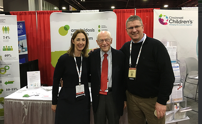 (L to R): Isabelle Lousada, Dr. Robert Kyle and Eric Low at ARC's booth at the ASH meeting.