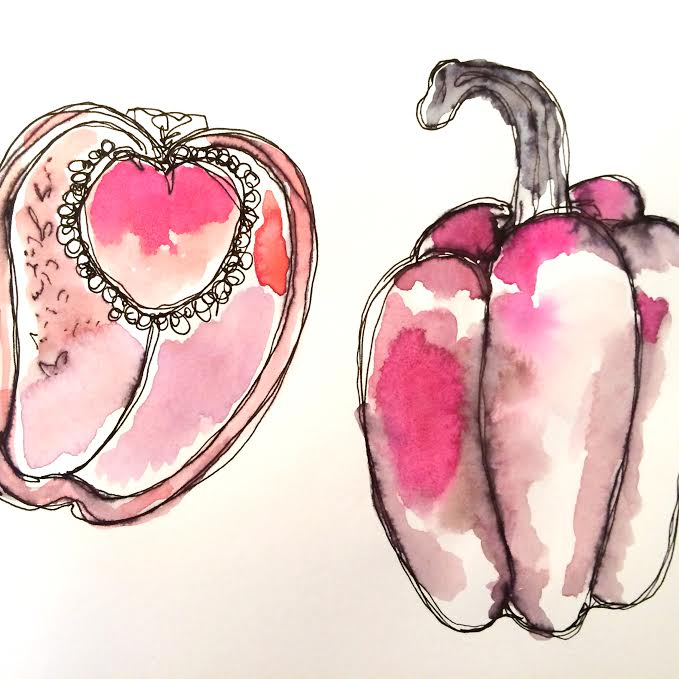 Watercolor peppers.