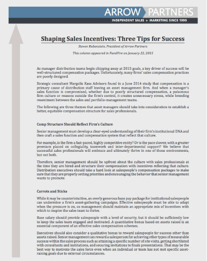 shaping sales incentives
