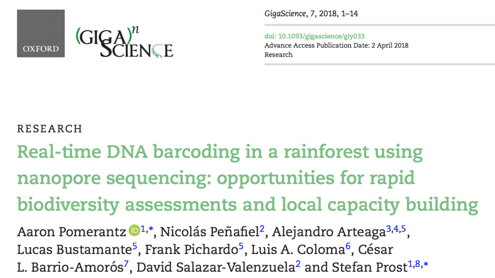 Download:    Real-time DNA barcoding in a rainforest using nanopore sequencing: opportunities for rapid biodiversity assessments and local capacity building