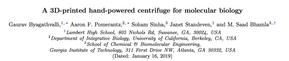 Download:    A 3D-printed hand-powered centrifuge for molecular biology