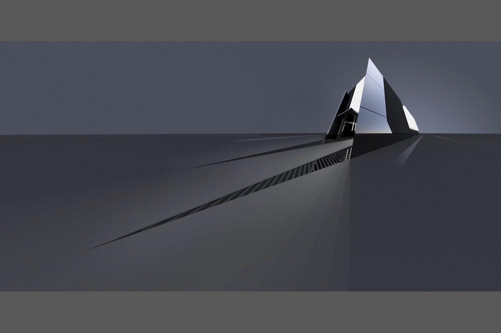 Rendu 3D, Aluminium poli.   3D rendering, polished Aluminium.    100x50 cm   2010