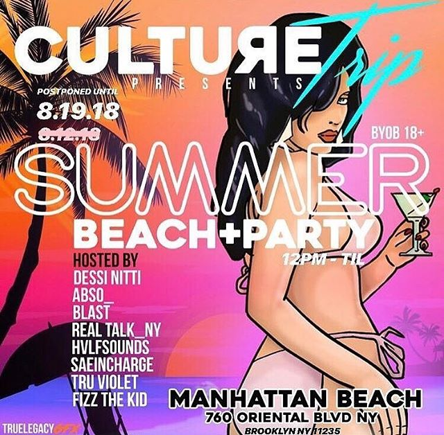 DONT FORGET: #CultureTrip #BeachParty has been rescheduled to this Sunday, August 19 at @manhattanbeach_nyc. #Free and #BYOB - Join us there... @_iamblast_ is cohosting and keeping us #Topside.  #Breadisthebrand #NYCevents