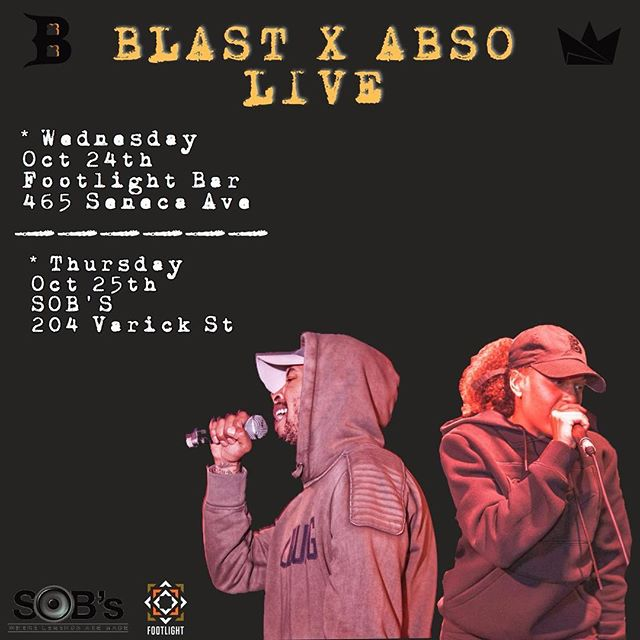 Streaming the #TalkinBad single? Come see @_iamblast_ perform it live with @abso__ this week: Wednesday at @thefootlightbar and Thursday night at @sobsnyc - swipe through for full details or head to www.breadisthebrand.com