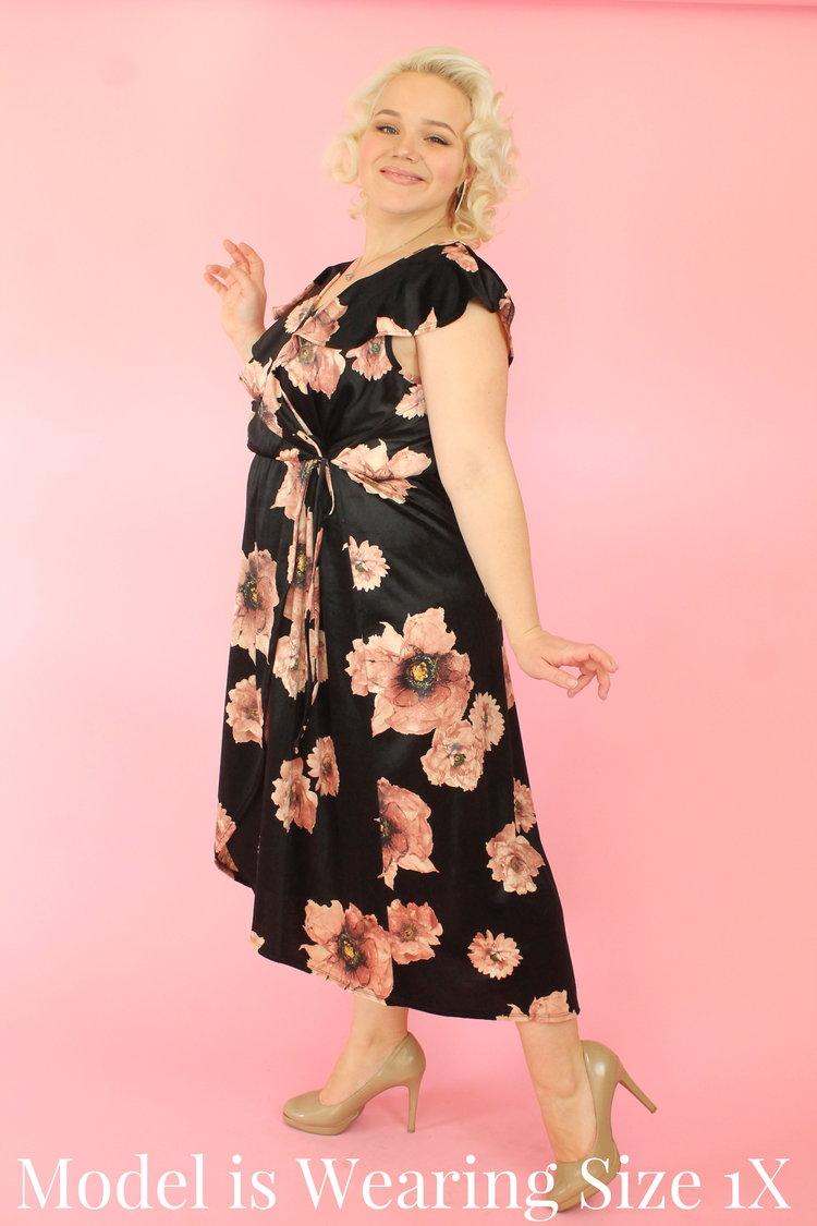 9d0c82ffbb20 Floral Velvet Hi Lo Wrap Dress — Your Big Sister s Closet Plus Size