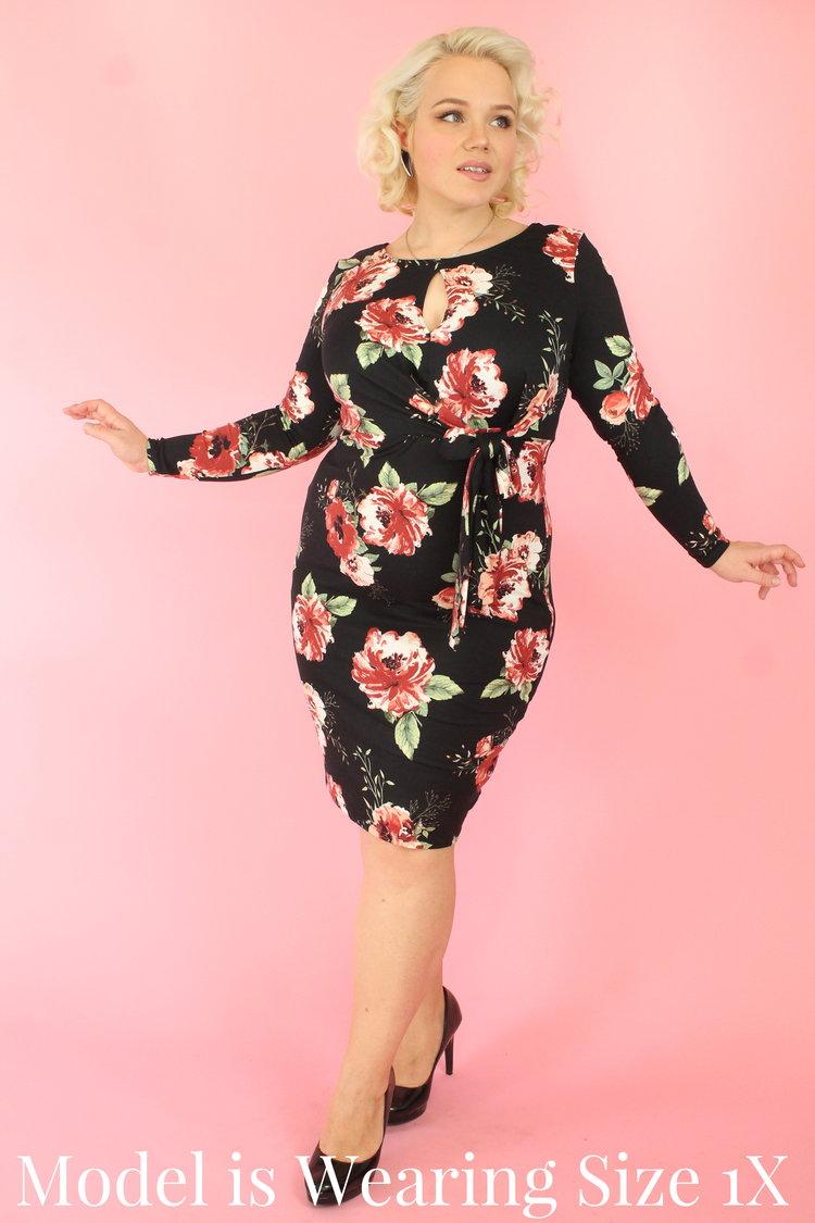 4e8b816687bb3 Black Floral Bodycon Bow Dress — Your Big Sister s Closet Plus Size