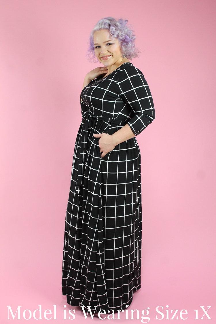 e394bd6c3ed26 Black and White Grid Maxi — Your Big Sister s Closet Plus Size