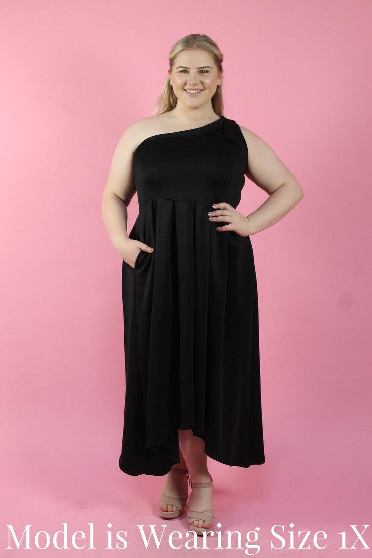 Black One Shoulder Dip Hem Dress Your Big Sister S Closet Plus Size