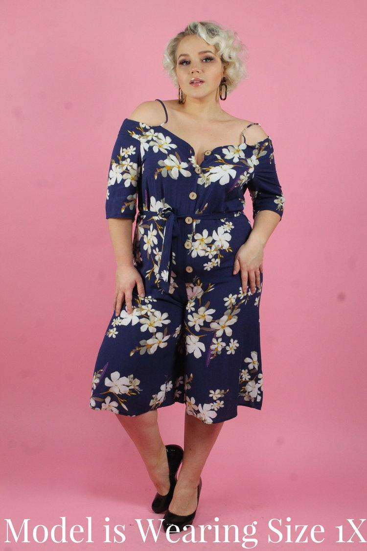 9216f37161f3 Blue Floral Off the Shoulder Jumpsuit — Your Big Sister s Closet ...
