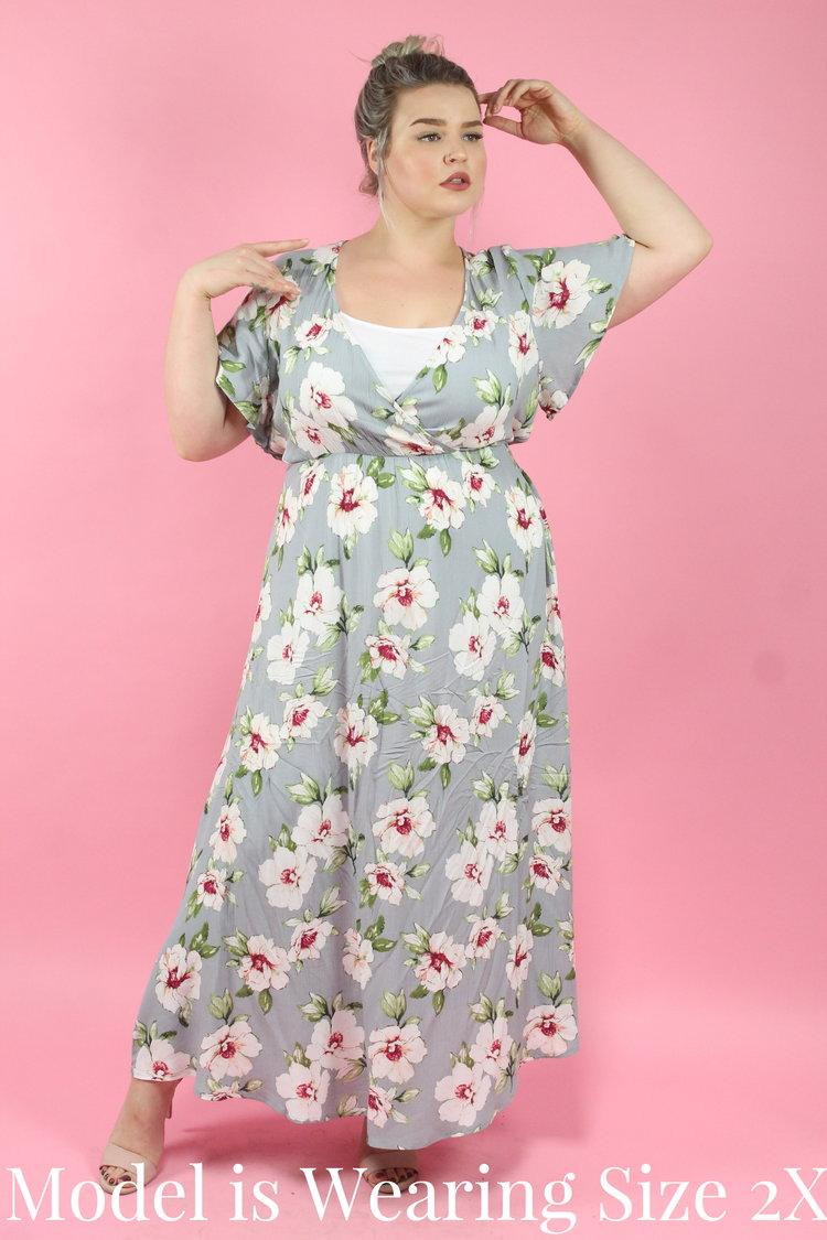 73e2009d035 Light Grey Floral Maxi Dress — Your Big Sister s Closet Plus Size