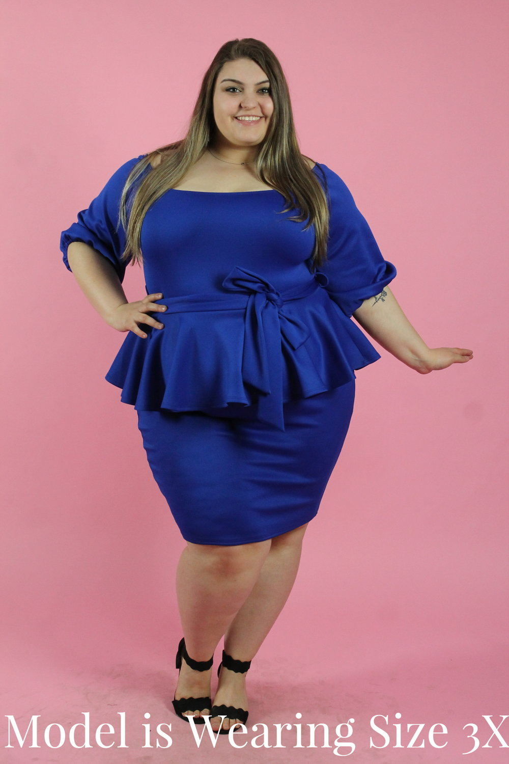 Royal Blue Dress with Puffy Sleeves